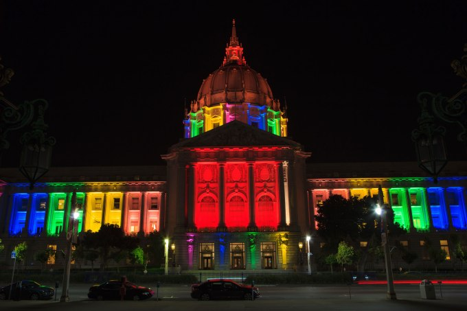 San Francisco city hall in rainbow colors during gay pride week. June 28, 2013 in San Francisco, California