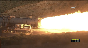 NASA's cold motor test of the SLS booster / Screenshot of NASA livefeed