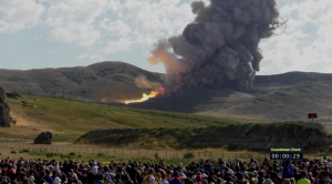 Spectator's view of NASA's SLS booster test / Screenshot of NASA livefeed