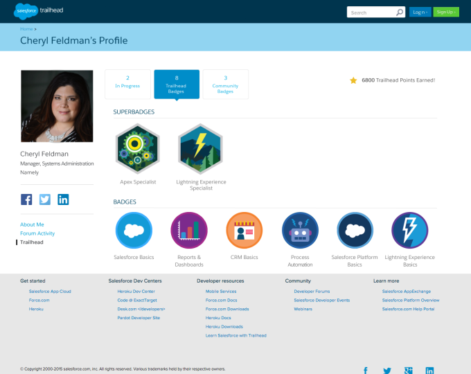 Profile with Salesforce Trailhead super badges showing a particular experise.