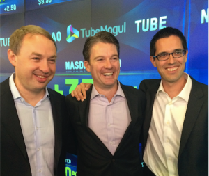 Bee Partners' Michael Berolzheimer (center) with TubeMogul cofounders Brett Willson and John Hughes on July 18, 2104, the date of TubeMogul's IPO.