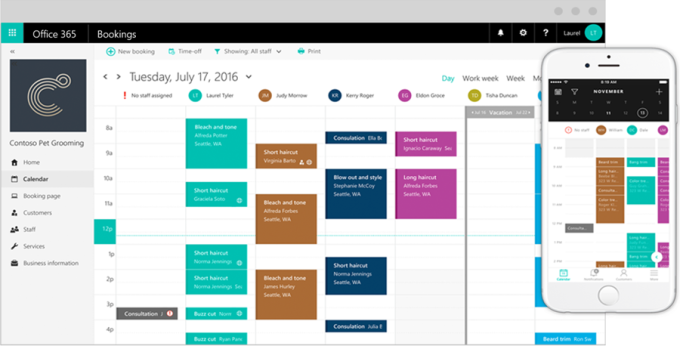 microsoft debuts bookings a new office 365 service for online