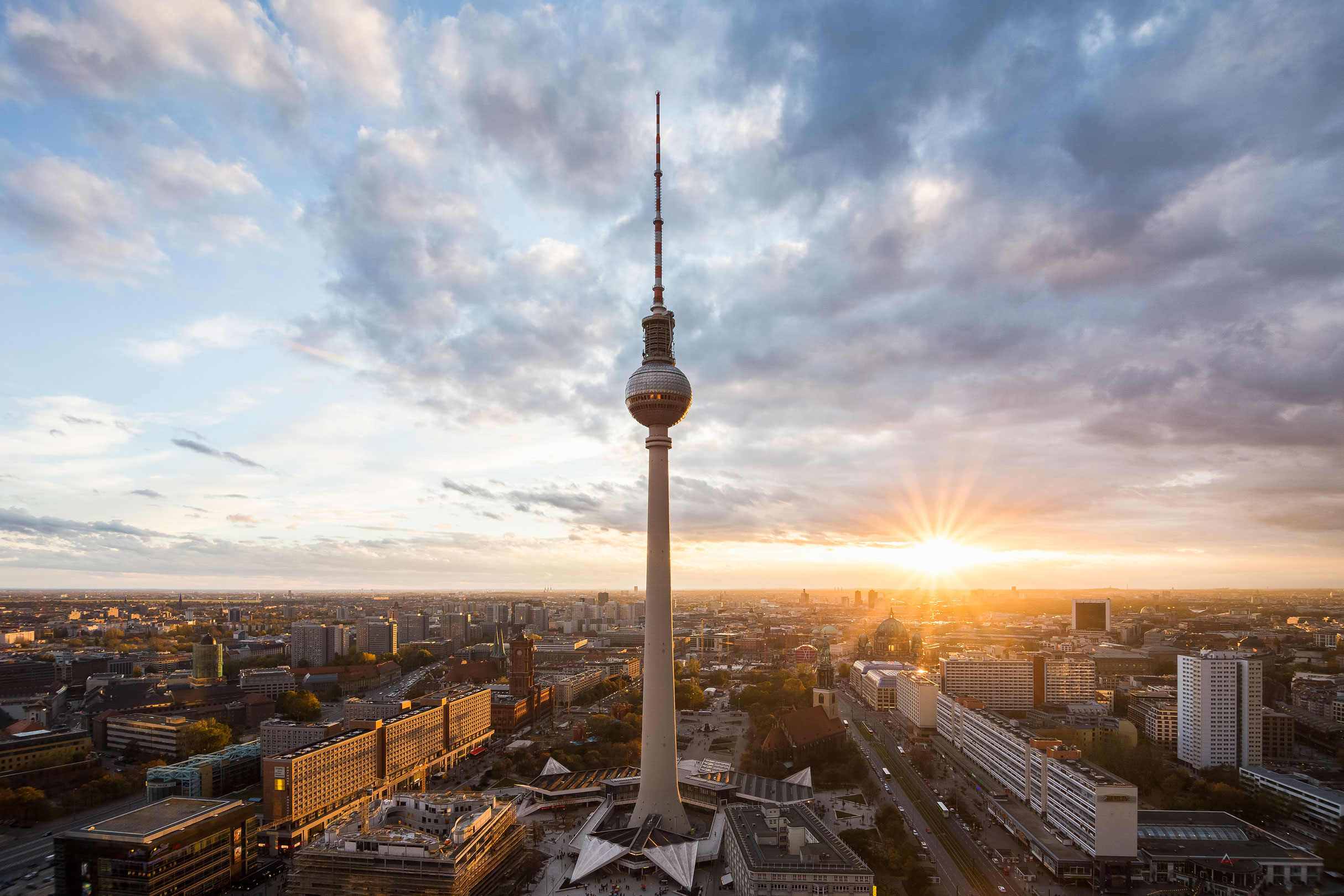 Panoramic view of Berlin at sunset.