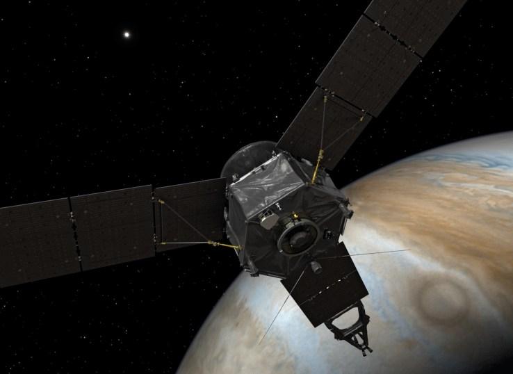 Artist's concept of Juno in orbit around Jupiter.