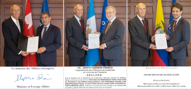 Representatives from Canada (left), Guatemala (center), and Ecuador present documents to WIPO's Francis Gurry.