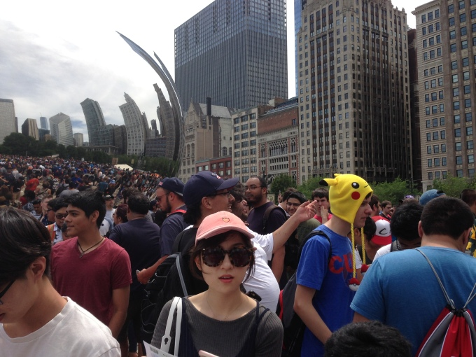 About 5.000 people showed up at a Pokémon Go meeting near Cloud Gate in Chicago last Sunday. (Photo: Lucia Maffei/TechCrunch)
