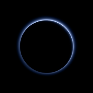 Image of Pluto's blue haze layer taken by New Horizons Ralph/Multispectral Visible Imaging Camera (MVIC) / Image courtesy of NASA/JHUAPL/SwRI