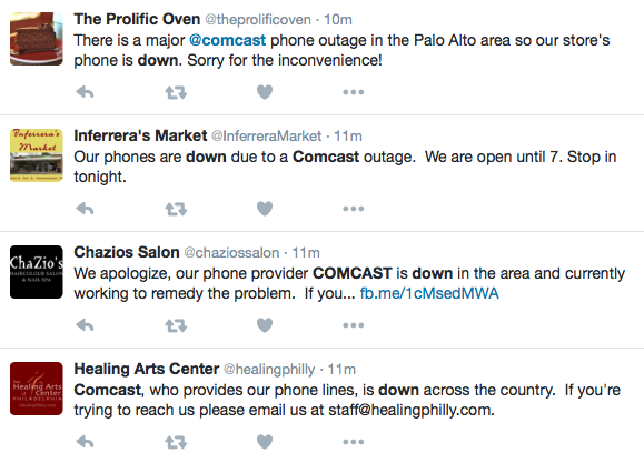 Comcast business phone service is down and small businesses