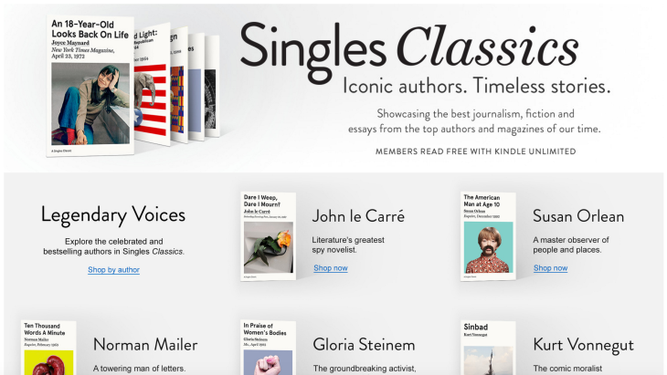 Amazon launches Singles Classics to resell timeless essays