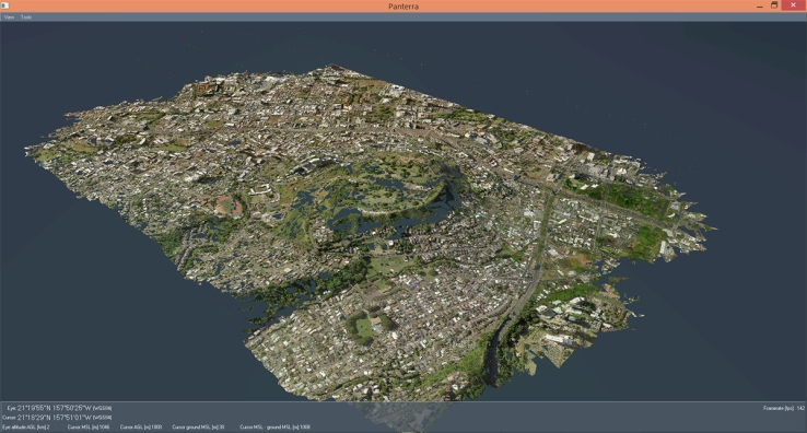 An example of Lockheed's photogrammetry in action -- a 3D map of Oahu.