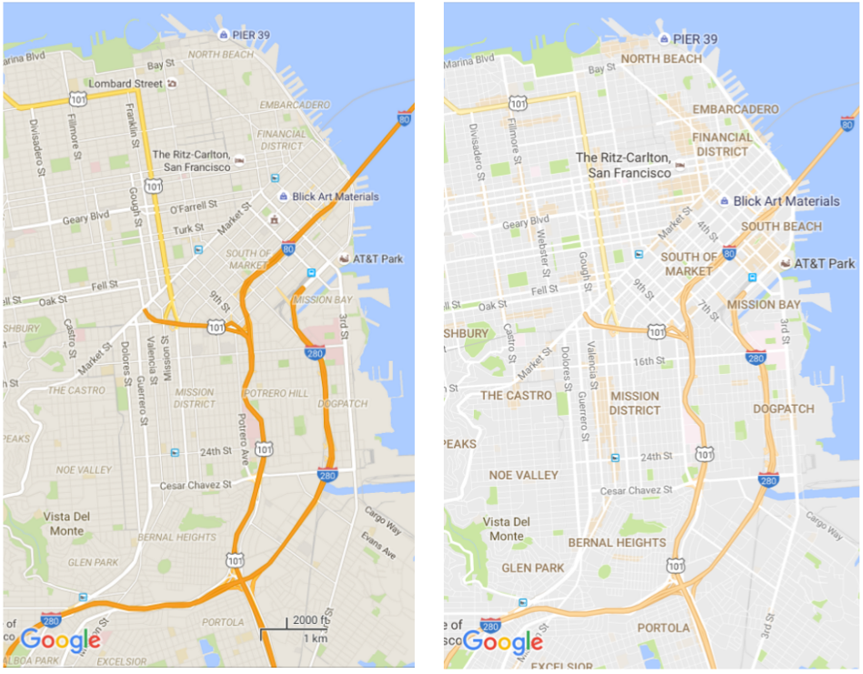 Google Maps Gets A Cleaner Look And Starts Highlighting Areas Of - Colors in google maps