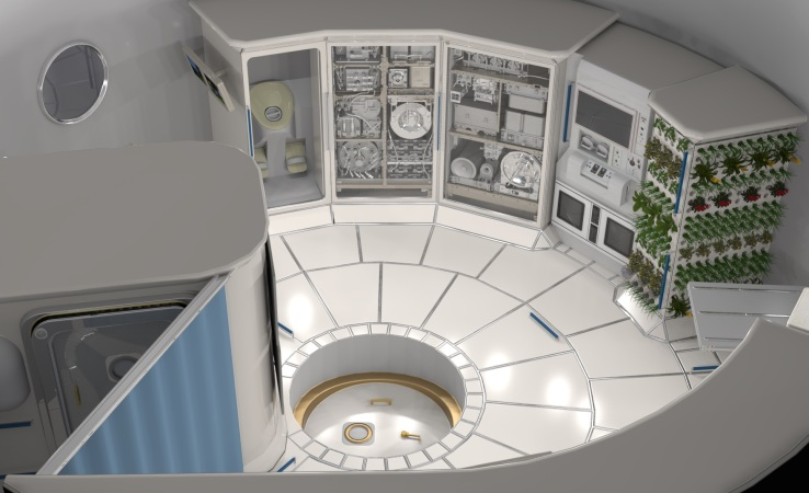 NASA concept of the interior of a habitable module.