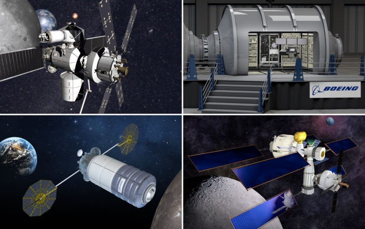 From top left: Lockheed Martin, Boeing, Orbital ATK, and Sierra Nevada's concept spacecraft.