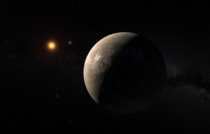 An artist's impression of Proxima b orbiting the red dwarf star Proxima Centauri / Illustration courtesy of the European Southern Observatory