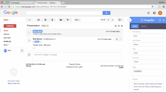 Propeller CRM in GMail