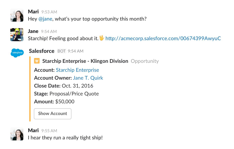 Salesforce alerts in Slack