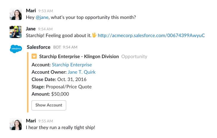 Enterprise chat app Slack ties up with Salesforce in a deep