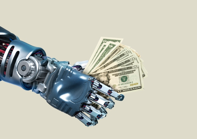 robot, technology, future, futuristic, business, economy, business, money, dollar, bill, high tech, cyber, cyber technology, data, artificial intelligence, 3D, metal, blue background, studio, science, sci fi, hand, gesture, robotic, tech, illustration, innovation, shiny, chrome, silver, wires, concept, creative