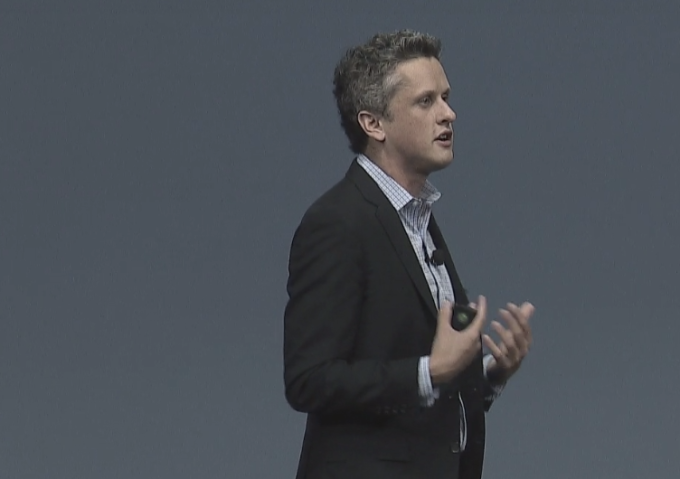 Box CEO Aaron Levie on stage at BoxWorks 2016.