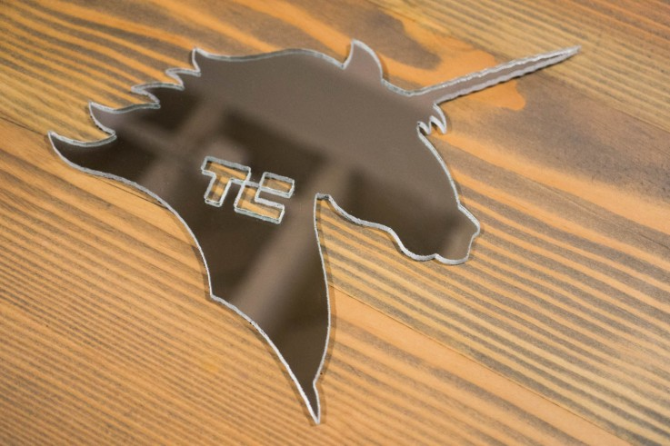 A mirror, cut into the shape of an unicorn. With a TechCrunch logo on it. There's a lot to like here.