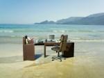 Office desk on beach