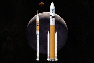 Artist rendering of NASA's Ares I and Ares V rockets as part of the Constellation program / Image courtesy of NASA
