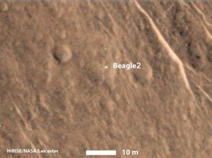 The Beagle 2 lander was identified on the surface of Mars from NASA's MRO satellite / Image courtesy of NASA