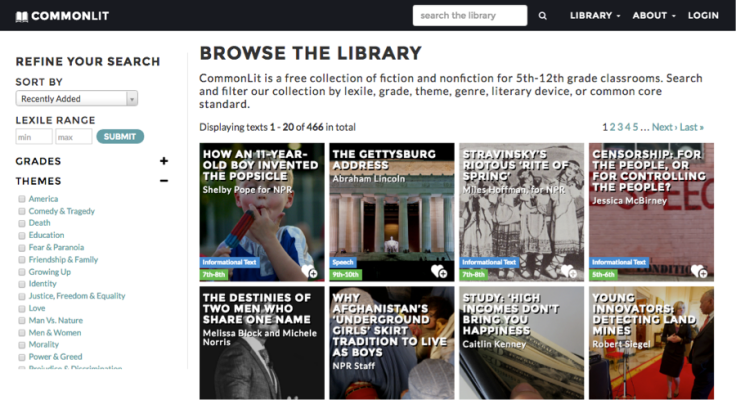 The CommonLit.org digital library.