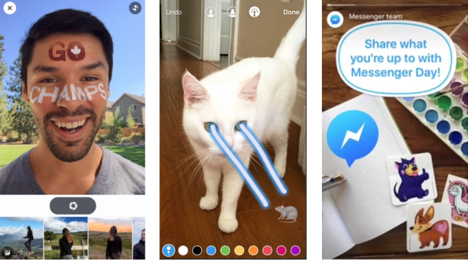 Facebook's latests attempts to clone Snapchat (from left): Facebook's Camera Feed with selfie lenses, Instagram Stories with creative tools for sharing imperfect images, Messenger Day for 24-hour ephemeral sharing