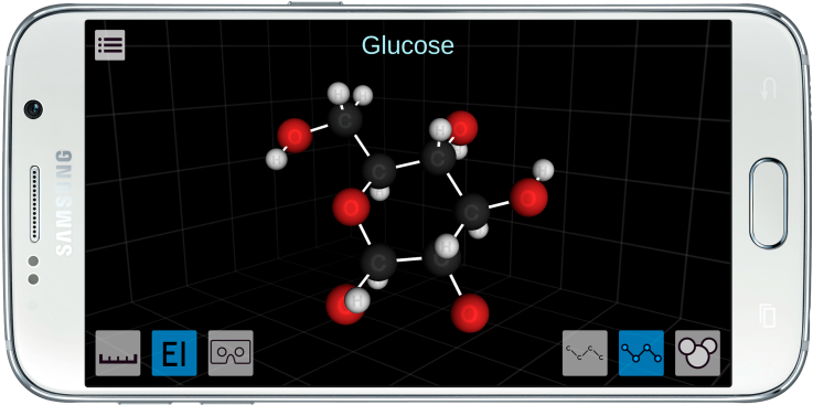 The MEL Science app shows a 3-D model of glucose.