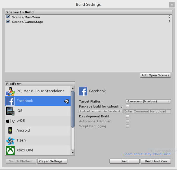 Export games from Unity directly into Facebook Gameroom