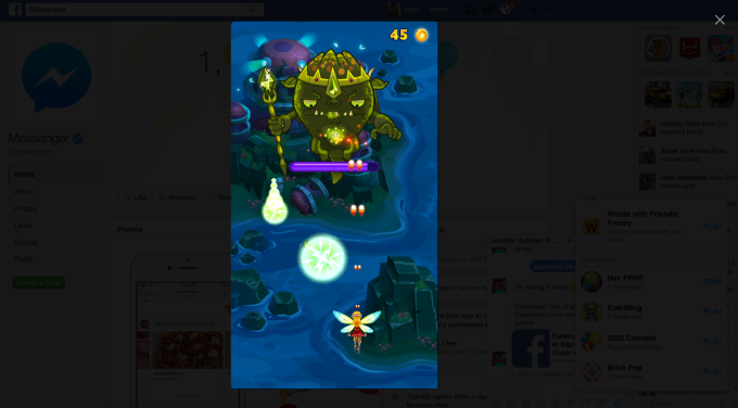 You can play Messenger Instant Games like EverWing on Facebook's web site thanks to an overlaid phone screen plus your mouse and keyboard