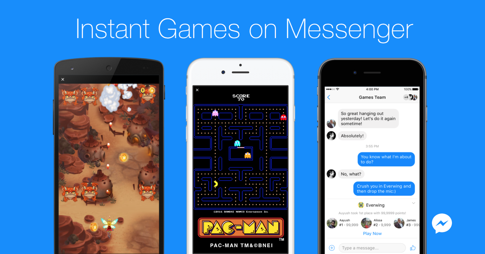 Facebook messenger launches instant games techcrunch kristyandbryce Choice Image