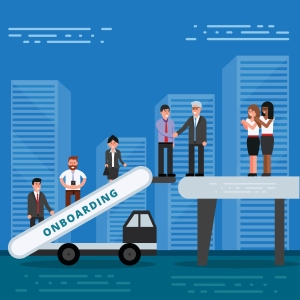 Employees onboarding concept. HR managers hiring new workers for job. Recruiting staff or personnel in their business company.