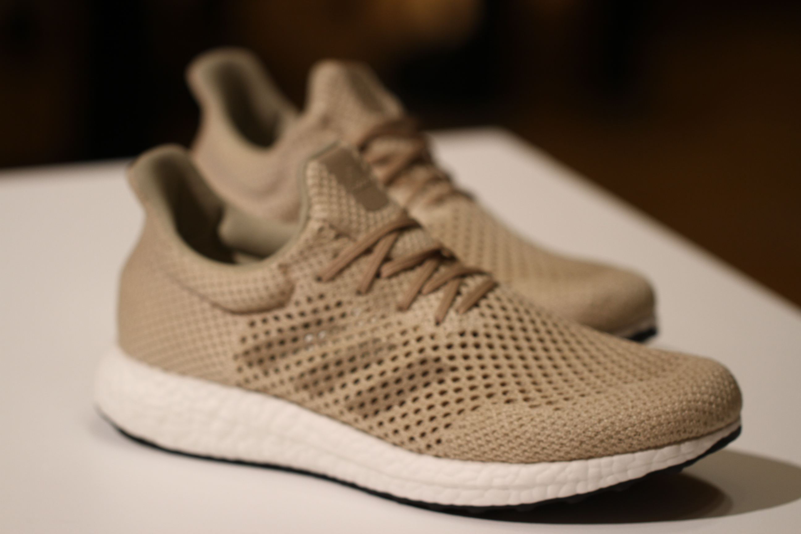 These Adidas kicks are woven from Biosteel fiber, a material designed to  replicate spider silk that was developed by a German biotech company.
