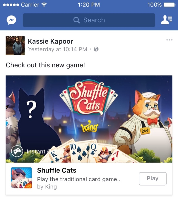 Facebook Messenger launches Instant Games | TechCrunch