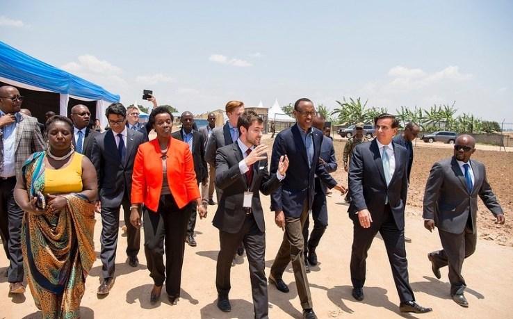 Rwandan President Paul Kagame and Zipline CEO Keller Rinaudo.