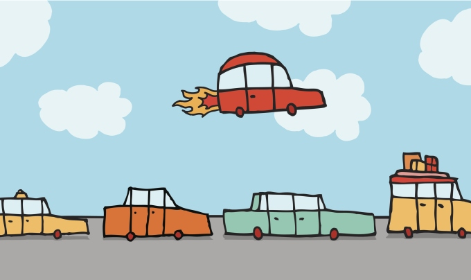 Cartoon illustration of a flying car passing above other land vehicles