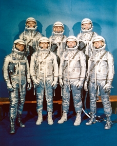 The seven Mercury astronauts were (from left) Wally Schirra, Alan Shepard, Deke Slayton, Gus Grissom, John Glenn, Gordon Cooper and Scott Carpenter / Image courtesy of NASA