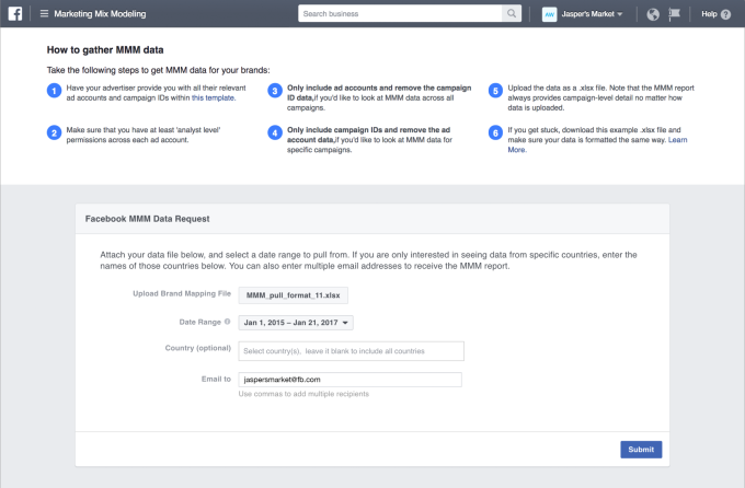 Facebook launches a marketing mix modeling portal for