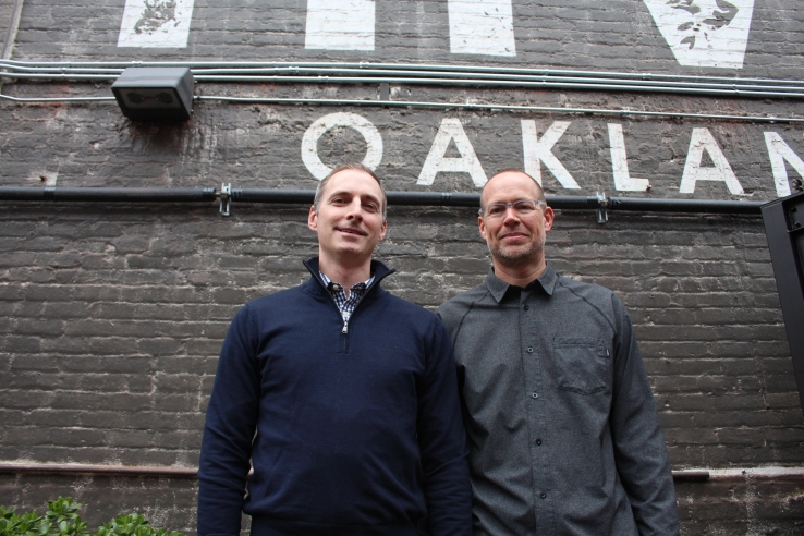 Better Ventures cofounders Wes Selke and Rick Moss outside of their offices in Oakland, Calif.
