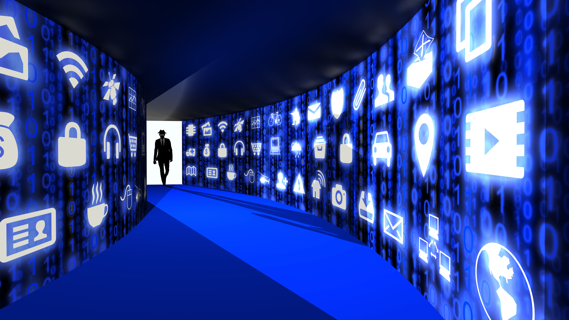 A silhouette of a hacker with a black hat in a suit enters a hallway with walls textured with blue internet of things icons 3D illustration cybersecurity concept