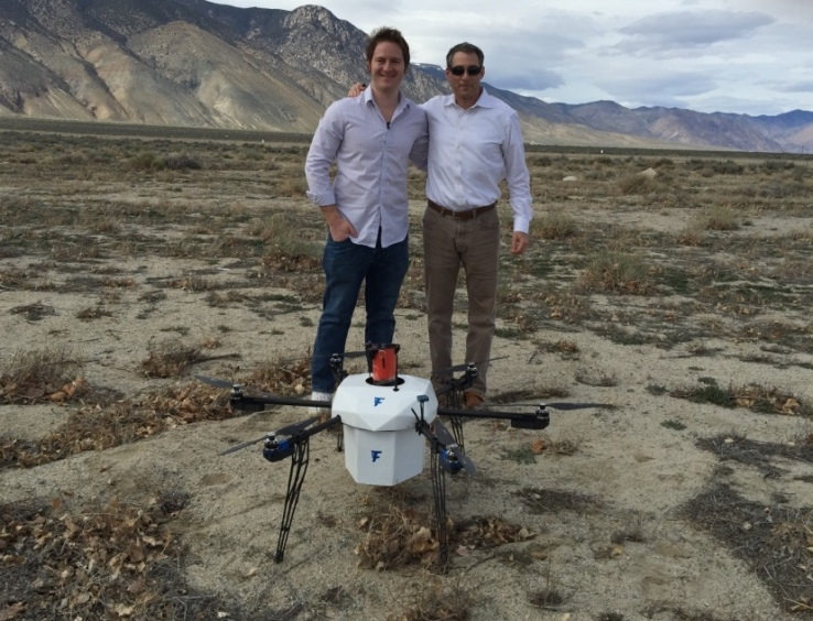 Flirtey CEO Matt Sweeny with Menlo VC's Mark A. Siegel in Hawthorne, Nevada.