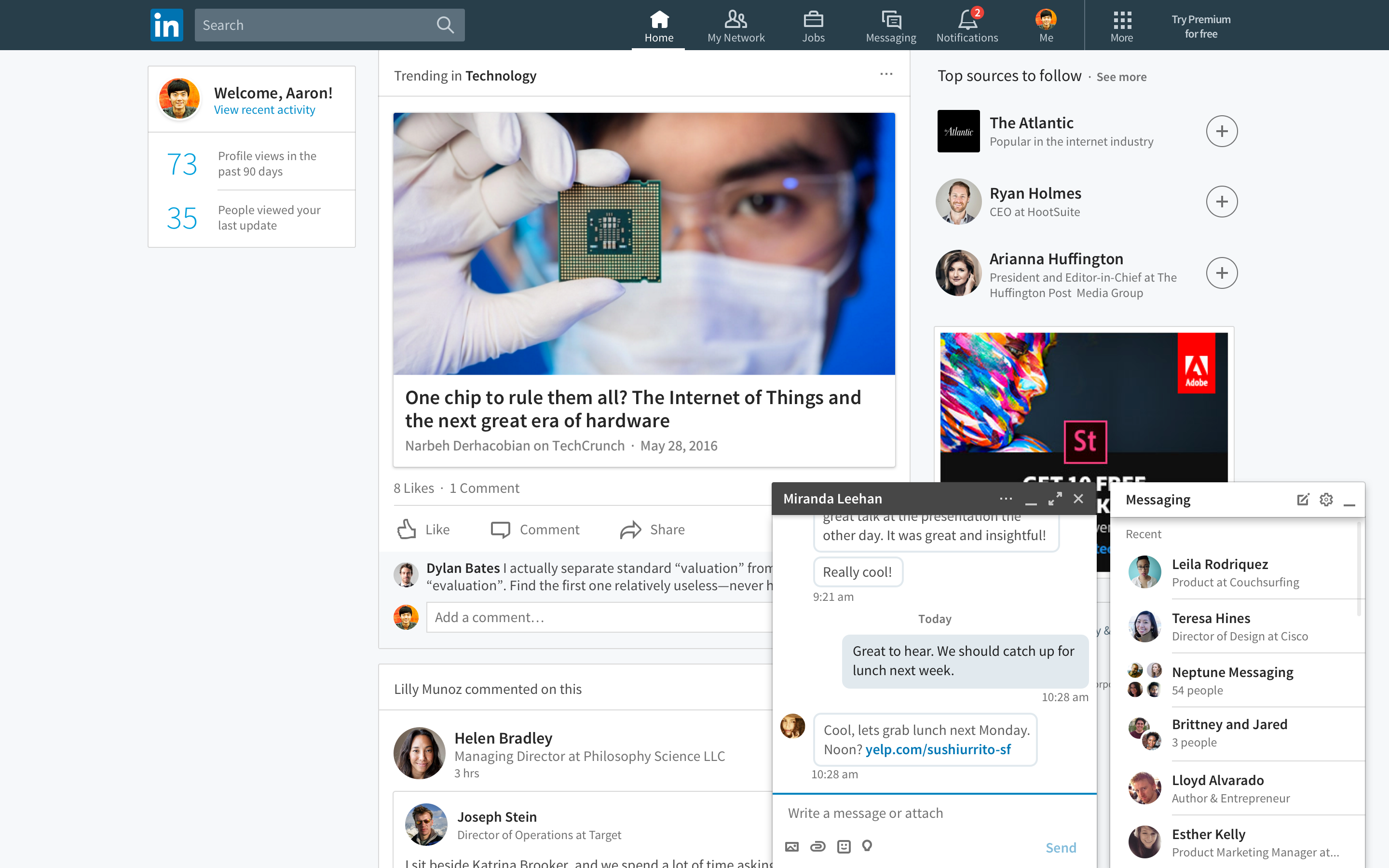 LinkedIn Debuts New Desktop Version With 'chatbots', New