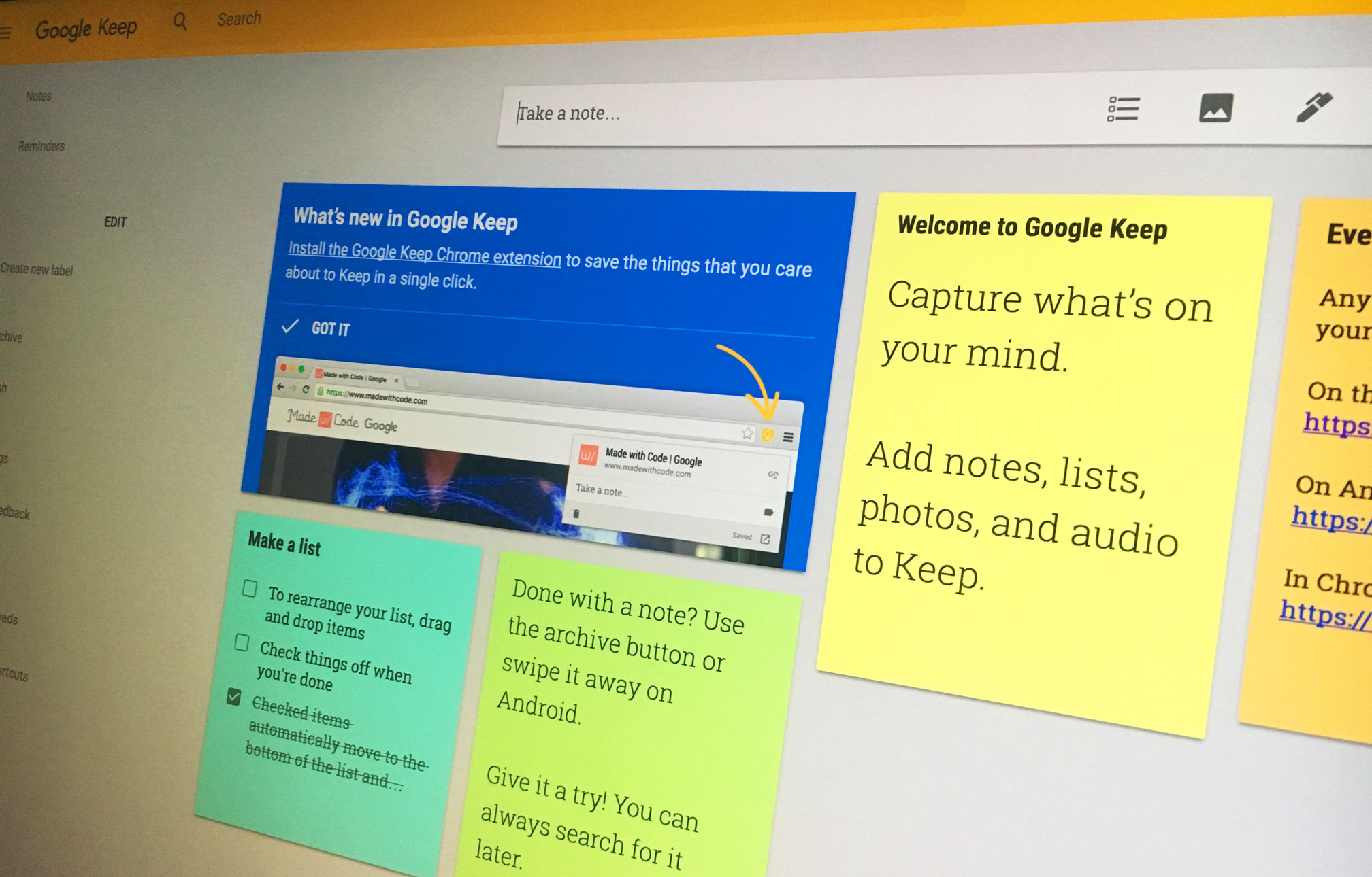 Googles note taking app keep joins g suite now for Google docs app desktop
