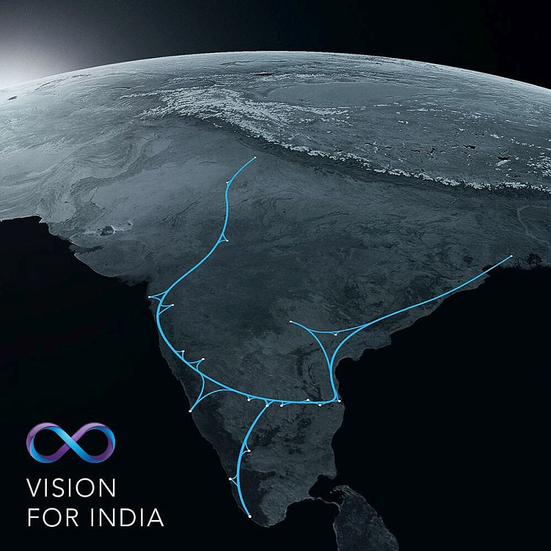 A concept graphic of proposed Hyperloop routes in India.
