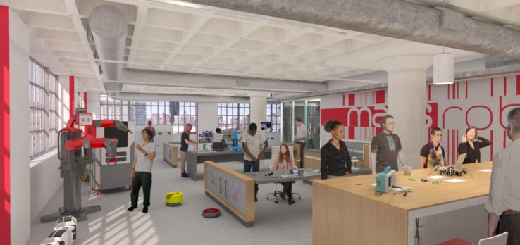 Artist's rendering: MassRobotics, a coworking space exclusively for robotics startups in Boston.
