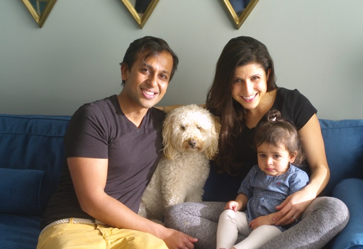 Thistle co-founders Ashwin Cheriyan and Shiri Avnery with their child.