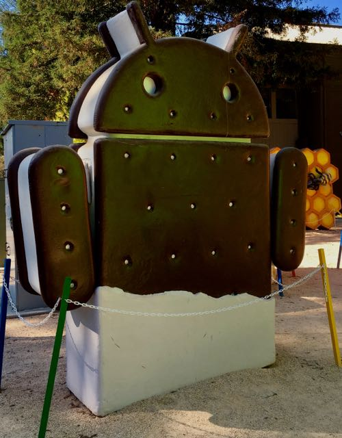 Google Ice Cream Sandwich statue at Google headquarters.