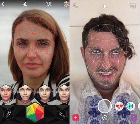 Snap acquired Looksery (left) to power its selfie Lenses (right)